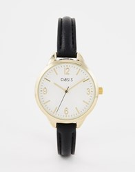 Oasis Subtle Etch Dial Black Leather Watch
