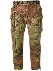 Dsquared2 Sequined Camouflage Cropped Trousers Women Polyamide Polyester Plastic 38