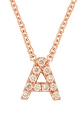 Bony Levy Women's Pave Diamond Initial Pendant Necklace Nordstrom Exclusive Rose Gold