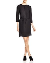 Nydj Pleat Back Shirt Dress Feather Leaves Black