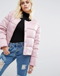 Puffa Oversized Collarless Padded Jacket Luxe Satin Grey Pink