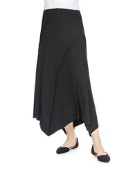 Joan Vass Seamed Handkerchief Hem Maxi Skirt Black
