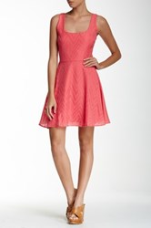 Necessary Objects Sleeveless Woven Texture Skater Dress Pink
