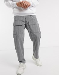 Reclaimed Vintage Relaxed Fit Check Trousers In Grey Black