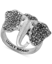 Lucky Brand Silver Tone Pave Elephant Ring
