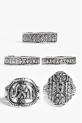 Boohoo Engraved Mixed Ring Pack Silver