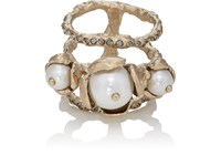 Koche Imitation Pearl Embellished Cage Ring White