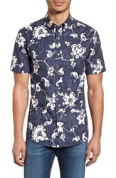 Reyn Spooner Aloha Pareau Tailored Fit Sport Shirt Navy
