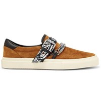 Amiri Embellished Leather Trimmed Suede Slip On Sneakers Brown