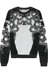 Roberto Cavalli Lace Intarsia Fleece And Knitted Sweater Gray
