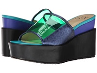 Gx By Gwen Stefani Amelie Navy Green Cobalt Metallic Vinyl Matte Women's Wedge Shoes Clear