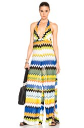 Missoni Mare Jumpsuit In Yellow Blue Stripes Geometric Print