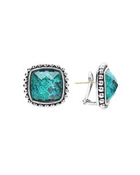 Lagos Sterling Silver Maya Escape Chrysocolla Doublet Square Omega Clip Earrings Blue Silver
