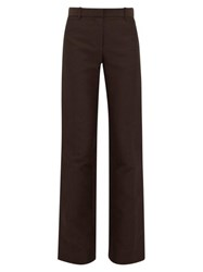 The Row Terrance Straight Leg Crepe Tailored Trousers Dark Brown