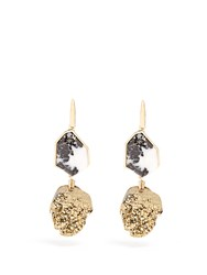 Christopher Kane Two Drop Natural Stone Earrings Gold
