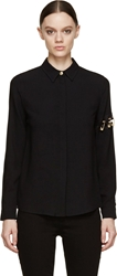 Versus Black Crepe Safety Pin Blouse