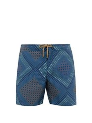 Thorsun Geometric Print Swim Shorts Navy
