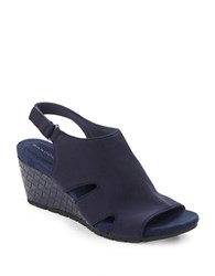 Bandolino Galedale Basketweave Wedge Sandals Navy Blue