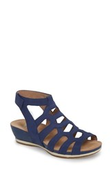 Dansko 'S Valentina Caged Wedge Sandal Blue Milled Nubuck Leather