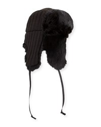 Hat Attack Fur Lined Knit Trapper Hat Black Blac