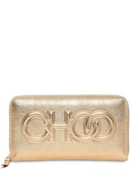 Jimmy Choo Bettina Embossed Logo Leather Wallet Gold