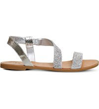 Office Sparkle Glitter Sandals Silver Snake