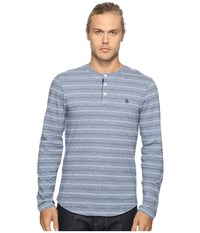 Original Penguin Long Sleeve Marled Striped Henley Bering Sea Men's Long Sleeve Pullover Blue