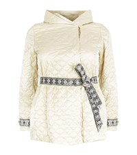 Marina Rinaldi Quilted Embroidered Belt Coat Female Neutral