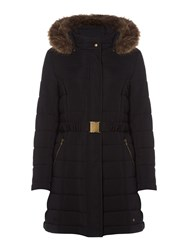Dickins And Jones Puffer Coat With Faux Fur Hood Black