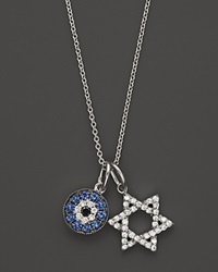 Bloomingdale's Diamond And Sapphire Evil Eye And Star Of David Pendant In 14K White Gold .20 Ct. T.W.