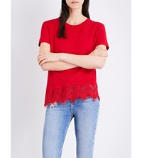 The Kooples Sport Floral Lace Trim Linen Jersey T Shirt Red78