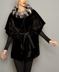 The Fur Vault Chinchilla Trim Mink Belted Cape Black