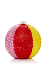Judith Leiber Couture Beach Ball Sphere Clutch Red Yellow Pink