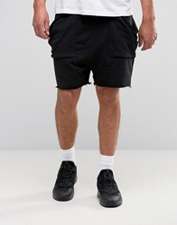 Asos Jersey Shorts With Drape Pockets In Black Black