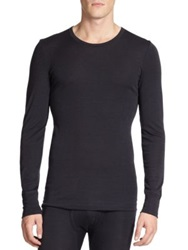 Hanro Merino Wool And Silk Crewneck Tee Charcoal Beige