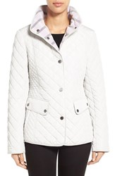 Women's Gallery Plaid Trim Quilted Barn Jacket Cloud
