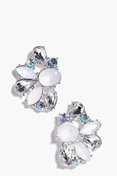 Boohoo Mixed Stone Embellished Cluster Earring Silver