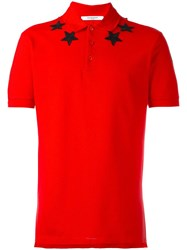 Givenchy Cuban Fit Star Applique Polo Shirt Red