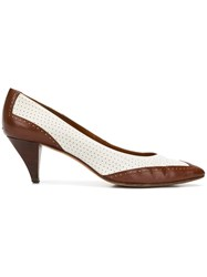 Prada Vintage Two Tone Court Shoes Brown