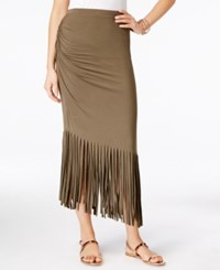 Inc International Concepts Petite Asymmetrical Fringe Maxi Skirt Only At Macy's Olive Drab