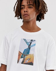 Brooklyn Supply Co. Co Drop Shoulder Oversized T Shirt With Nyc Print In White