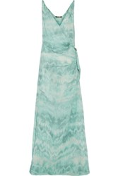 Roberto Cavalli Gathered Printed Silk Crepe De Chine Gown Turquoise