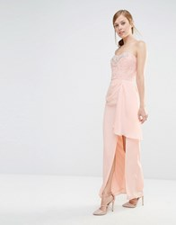 Elise Ryan Bandeau Maxi Dress With Lace Bodice And Embellishment Nude Pink