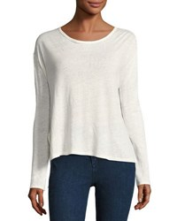 Rag And Bone Rugby Relaxed Linen Long Sleeve Tee Blanc White