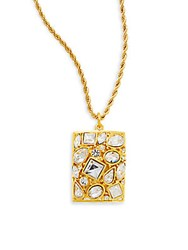 Kenneth Jay Lane Couture Collection Crystal Cluster Pendant Necklace Gold