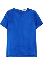 Max Mara Emilia Hammered Silk Satin Top Bright Blue