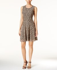 Tommy Hilfiger Lace Fit And Flare Dress Beige Black
