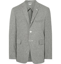 Thom Browne Grey Fun Mix Slim Fit Checked Linen And Cotton Blend Blazer Black