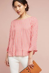 Anthropologie Gingham Ruffle Blouse Red Motif