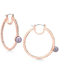Guess Rose Gold Tone Pave And Gray Imitation Pearl Hoop Earrings